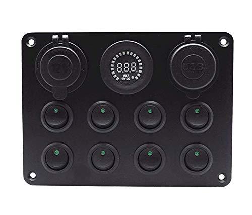 Riloer Panel de interruptor con panel de ojo de gato con protección de caja de fusibles doble cargador USB para coches, barcos, vehículos y yates