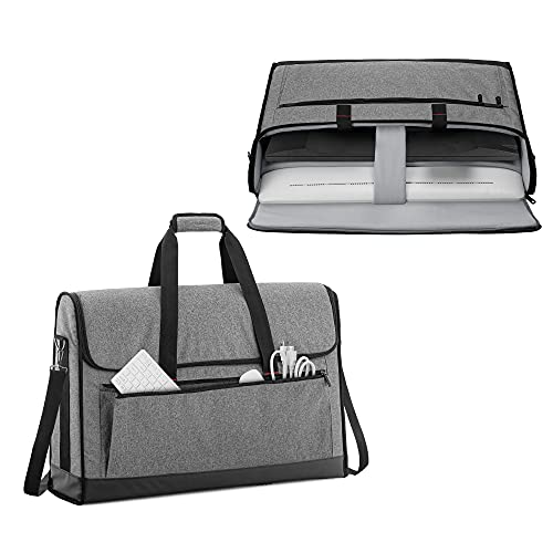 Trunab Monitor Carrying Case 24 Inch Padded Travel Bag Hold Up to 2 LCD Screens/TVs, Not Compatible with iMac or All-in-One Computer, with Accessories Pocket, Shoulder Strap, PU Bottom, Grey