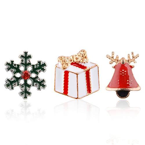 SpirWoRchlan Weihnachtsdekoration, 3 Stück Weihnachtsschmuck, Geschenk, Schneeflocke, Rentier, Stiefel, Strass-Brosche, Emailliert, 1#, Einheitsgröße