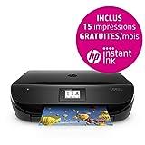 Imprimante - photocopieur - Scanner, jet d'encre - couleur Vitesse impression jusqu'à 9,5 ppm noir, jusqu'à 6,8 ppm couleur ISO (A4) Volume de pages imprimées mensuel recommandé : 100 à 400 Impression recto-verso automatique, bac papier en entrée de ...
