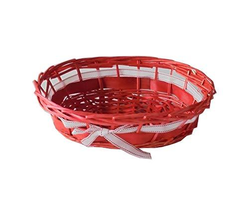 DELIZIE DI CARTA Lot de 1 panier ovale en osier de couleur rouge avec ruban blanc, 33 x 20 x H 9 cm, pour rubans et cadeaux.