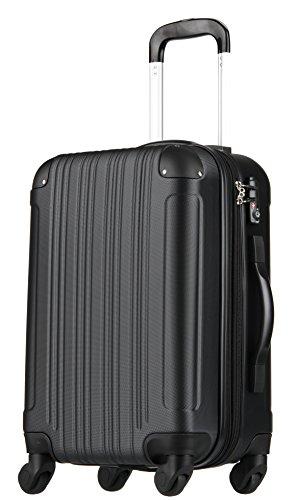 拡張ジッパースーツケース TSAロック 61リットル ブラック