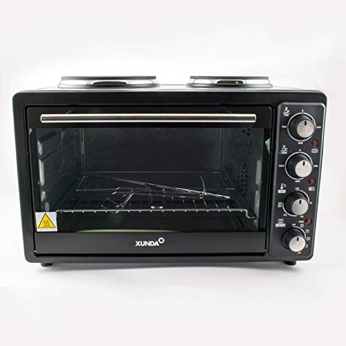 30L Mini Electric Oven 2 Hot Plate Convection Grill Hob Rotisserie Table Top 3300W