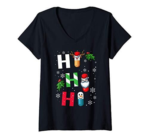 Mujer Ho Ho Ho Farmacia Pldoras Farmacutica Medicina Navidea Camiseta Cuello V