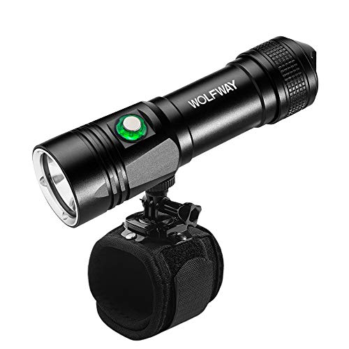 Wolfway Dive Light, Diving Lights Underwater Wrist Flashlight Holder for Scuba Diving, XML-L2 LED Hight Bright, 1000 Lumens Underwater 100M, 5 Modes with Rechargeable 18650 Battery-Black-Medium