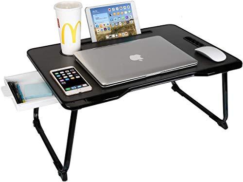 Charmdi Laptop-Tisch, tragbarer Laptop-Tisch, verstellbarer Laptop-Tablett-Tisch, Notebook Stehtisch mit Griff & Desktop Card Slot & Cup Slot für Bett/Sofa A-schwarz