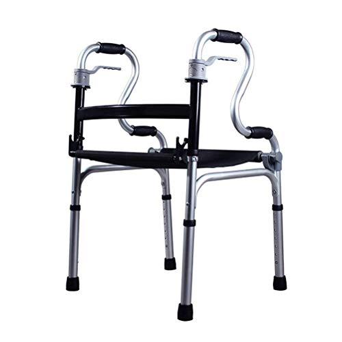 FHISD Marco de Seguridad Plegable para Andador, Ayuda para Andador Plegable de Altura Ajustable Liviana con Asiento para Movilidad Marco para Caminar para Personas Mayores y discapacitadas