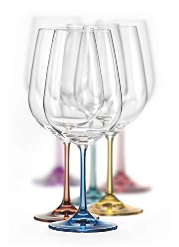 Bohemia Rotweingläser Kristall, Weinglas Mehrfarbig, Model Spectrum, Mehrfarbig, 550 ml, 6er Set (Weißweingläser 350 ml)
