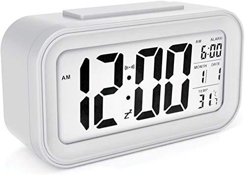 YIQI Réveil numérique sans Fil à Piles avec Date, température, lumière du capteur Intelligent, 12/24 Heures, répétition pour Les Chambres, Le Bureau, 5,31 x 2,95 x 1,77 Pouces (Blanc)