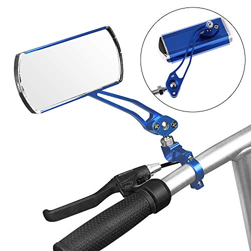 Bike Mirror,A Pair of 360°Rotation Back Rearview Mirror Handlebar Wide Angle Bicycle Mirror-Blue