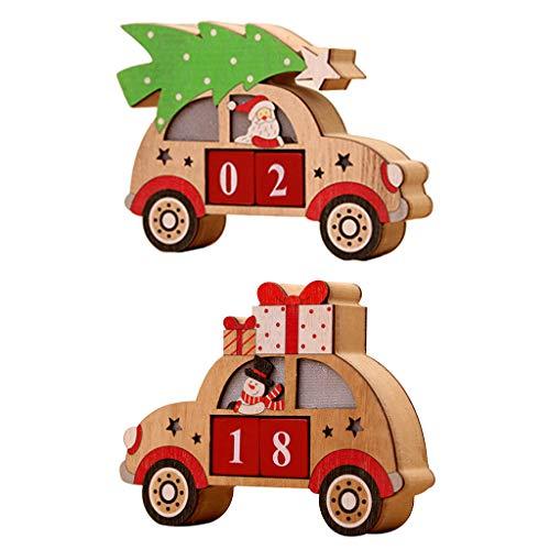 museourstyty Calendrier de l'Avent en bois avec LED en forme de voiture et blocs peints