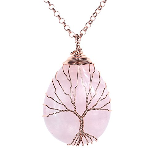 Jovivi Vintage Natural Rose Quartz Crystal Necklace Wire Wrapped Copper Tree of Life Teardrop Gemstones Chakra Pendant Necklace for Women
