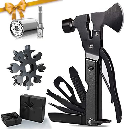 YUEWXTER Geschenke für Männer, Multitool 50 in 1 Survival Kit, mit Axt, Hammer, Schraubendreher, Universal Steckschlüssel, Schneeflocken tool