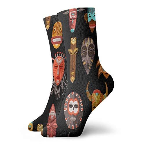 Calcetines, africanos étnicos tribales cubierta deportiva calcetines casuales calcetines calentadores de poliéster tripulación calcetines 11.8 pulgadas para hombre mujer