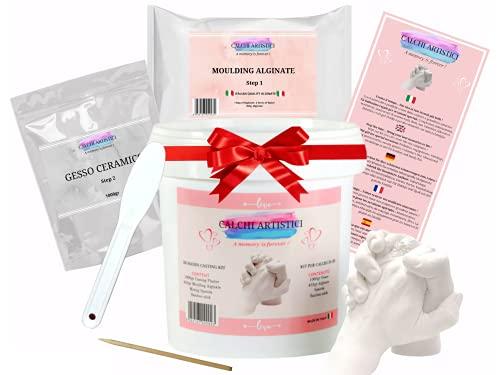 Calchi Artistici Kit XL Calco Mani e Piedi in 3D con Gesso e Alginato per Adulti Idea Regalo Originale per Coppia Famiglia Amici Anniversario e Compleanno Set per Stampi e Impronta