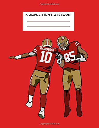 Composition Notebook Wide Ruled: San Francisco 49ers NFL NFC Football Notebook Journal for Boys, Super Bowl Sports Lined Pages Book, for school student/teacher