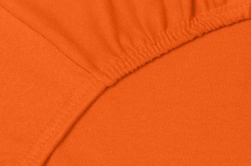 Double Jersey – Spannbettlaken 100% Baumwolle Jersey-Stretch bettlaken, Ultra Weich und Bügelfrei mit bis zu 30cm Stehghöhe, 160x200x30 Orange - 5
