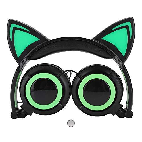 Koptelefoon voor kinderen met kattenoren, 3D-geluidskwaliteit, PC-headset, Ruisonderdrukking, Supercomfortabele zachte, bekabelde over-ear koptelefoon met functie voor het delen van muziek(Groen)