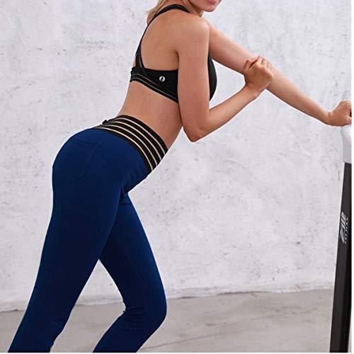 Dames hardlooppanty's, Sport Leggings, Tummy Control,voor Gym,Yoga, Workout Yoga sport vrouwelijke legging kant hoge taille heupen@Navy blue_XL