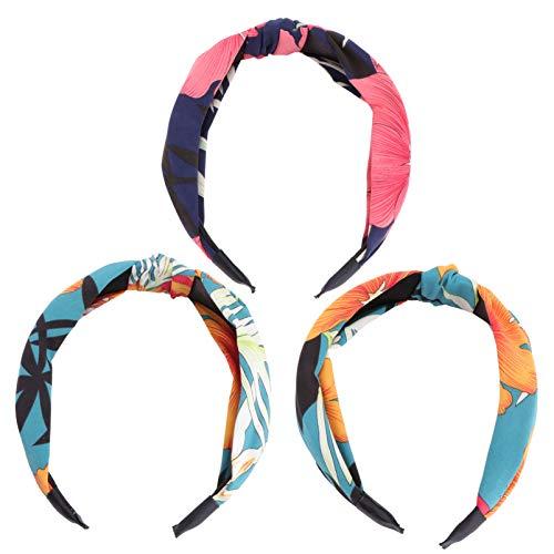 Lurrose 3 unids Retro Tela Imprimir Cuello ancho Anudado Diadema Barrettes Pelo Hairbow Mujeres Niñas(Color aleatorio)