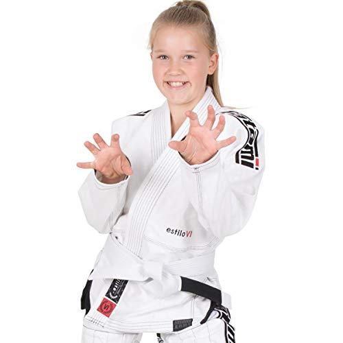 Tatami Fightwear Kids Estilo 6.0 White & Black BJJ GI, Juventud Unisex, Blanco/Negro, M0