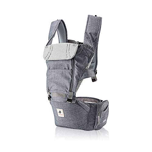 Pognae No 5 All New Outdoor Organic Baby Hipseat Front Backpack Carrier Ergonomic Design for Parents (Grey-Denim Style Melange)