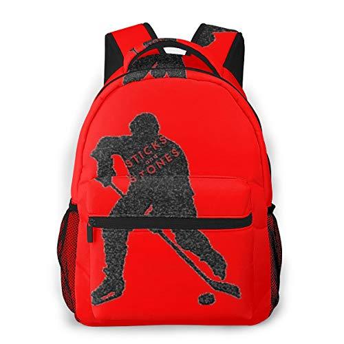 Lässige Reiserucksäcke Fashion School Student Daypack Wasserabweisende Business Computer Laptop-Tasche Nylon Herren Und Damen,Eishockey