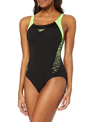 Speedo Boom Splice Muscleback, Costume da Bagno Donna, Multicolore (Black/Bright Zest), 38 (IT 48)