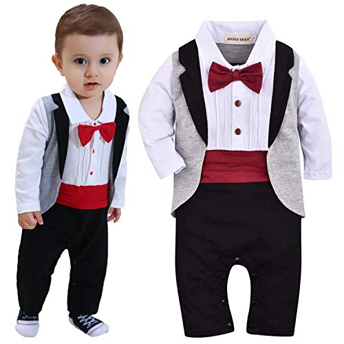 ZOEREA 1pc Baby Boys Tuxedo Gentleman Onesie Romper Jumpsuit Wedding Suit 3-18 M (Label 90/Age 9-12 Months, Black)