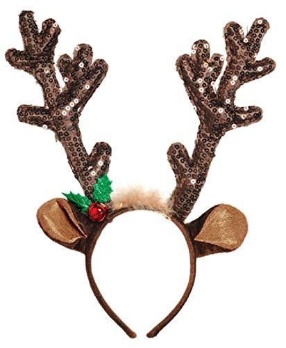 amscan 392098 Brown Antler Sequined Deer Headband, One Size