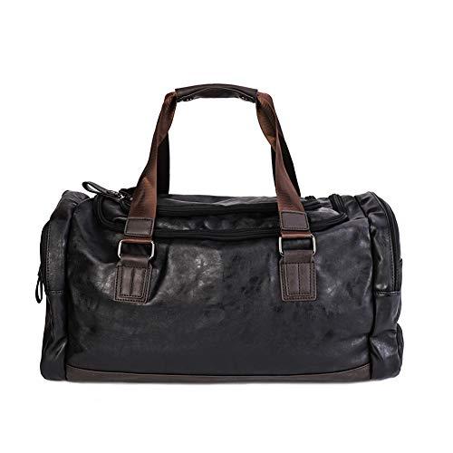 LUVODI Borsone da uomo in vera pelle borsa da viaggio palestra per il weekend Borsone da weekend bagaglio a mano bagagli da 16 pollici Tasche laterali portatile da tasca con tracolla elegante sport bo