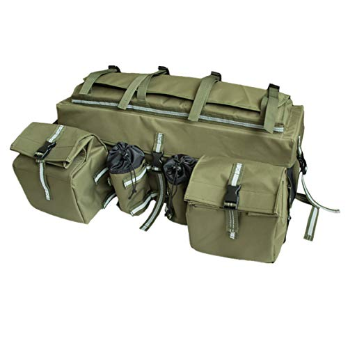 UNISTRENGH ATV Cargo Bag Rear Rack Gear Bag 600D Waterproof Oxford with Reflective Stripe Topside Bungee Tie-Down Storage Padded-Bottom Multi-Compartment Camo All Purpose Rear Seat Bag (Army Green)