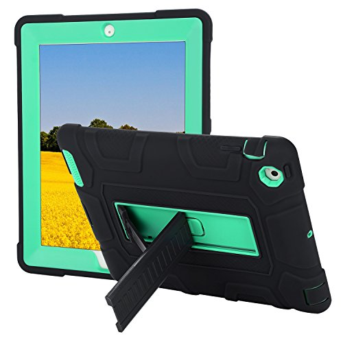 TKOOFN iPad 2/3/4 Case, Heavy Duty Shockproof Rugged Hybrid Protective Case Cover with Build in Kickstand for iPad 2/3/4