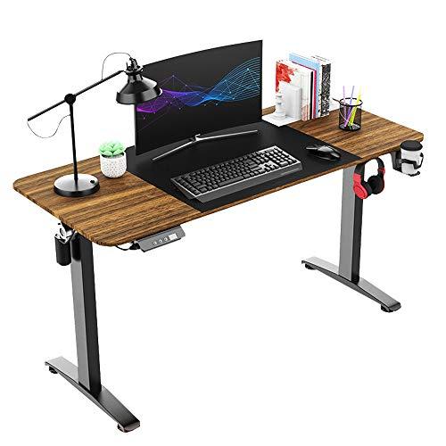Escritorio electrónico de altura ajustable, para juegos, con base antideslizante, para ordenador de mesa de 74 a 119 cm, color negro (140 cm)