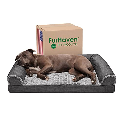 Furhaven Orthopedic Pet Bed for Dogs and Cats - Sofa-Style Faux Fur and Durable Performance Linen Couch Dog Bed with Removable Washable Cover, Charcoal, Large