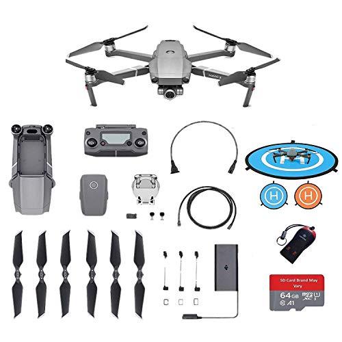 "DJI Mavic 2 Zoom Drone Quadcopter 12MP 2X 24-48mm Optical Zoom 1/2.3"" CMOS Sensor, 64GB MicroSD Adapter, Landing Pad"