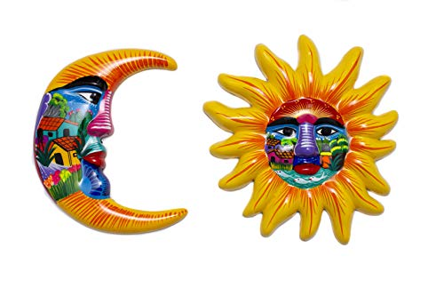 Yellow Hand Painted Authentic Mexican Sun and Moon Wall Decor, Patio Wall Decorations, Summer Wall Ceramic Decor, Moon Decor, Mexican Art for Home and Garden, Outdoor Wall Art 12 inches