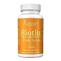 BIOMENTA Biotine hoge doses met 12.500 mcg + zink + selenium - 365 biotine tabletten - vegan - jaarlijkse genezing*