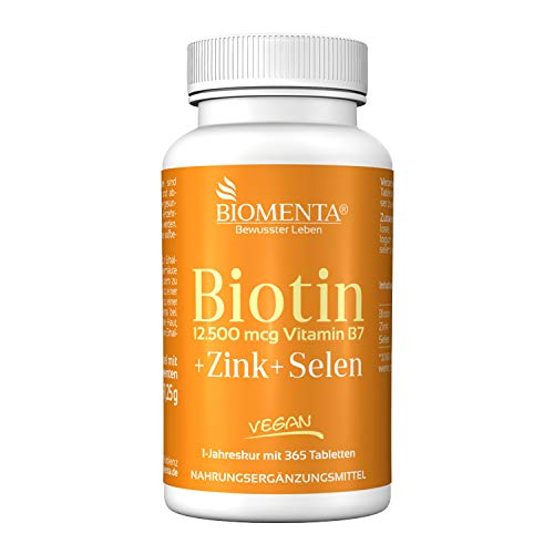 BIOMENTA Biotin hochdosiert 12.500 mcg + Zink + Selen - 365 Biotin Tabletten Vegan - Jahreskur