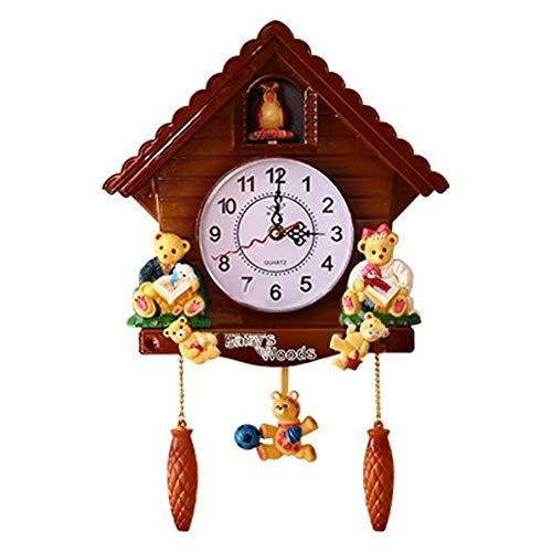 Afittel0 Cuco Reloj de Pared Madera, Madera de Pared Reloj Swing Temporizador Precioso Decoración para Hogar Estudio Dormitorio Infantil Y So En - Marron, 43x28 cm