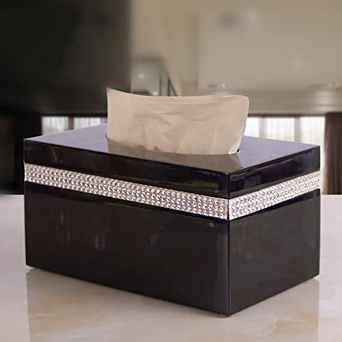 LCBLC hars weefsel doos servet papier doos desktop opslag Tissue doos met strass steentjes verwijderbare Tissue Holde