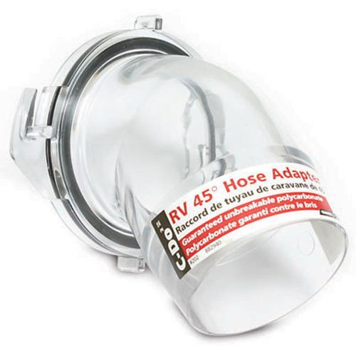 Camco Clear 45 Degree Sewer Hose Adapter Fitting - See Through Adapter Allows You to See When Your RV Sewer Hose is Clean |Break Resistant and Easy to Install - (39432)