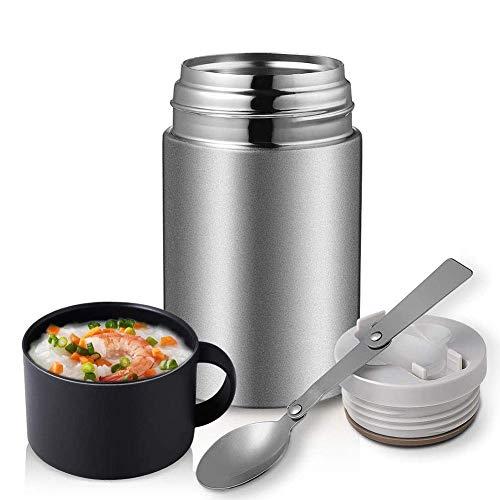 YFGQBCP Fiambrera Tarro del alimento con la Cuchara Plegable, Aislamiento por vacío |Doble Pared de Acero Inoxidable Recipiente Almuerzo Termo Box for Caliente o fría Alimentos