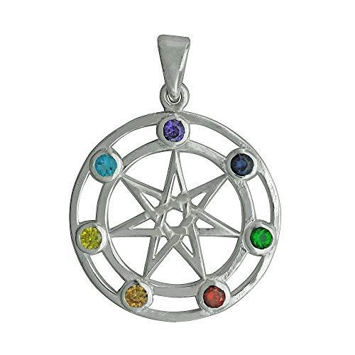 Beldiamo - Colgante de plata de ley 925 de 6 g, diseño de estrella de 7 puntas, multicolor con circonitas cúbicas