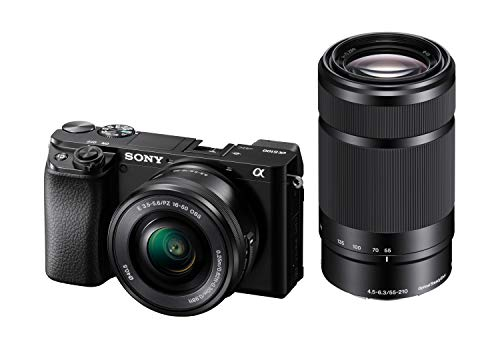Sony Alpha 6100 Systeemcamera, 24 MP, 4K Video, 180° Touchscreen, E-Mount, Incl. SEL-P1650 en SEL-55210B Lenzen, Zwart