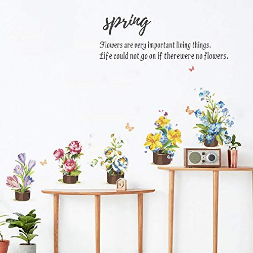 MMLFY Muursticker Lente Citaten Bloem Sticker Wand Woonkamer Decoratie Sticker Kast DIY Decal Wanddecoratie PVC Decoratieve Wandkunst