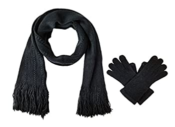 Bruceriver Women s Knit Scarf & Glove Set Cashmere Feel and Cable Design  Black Touchscreen