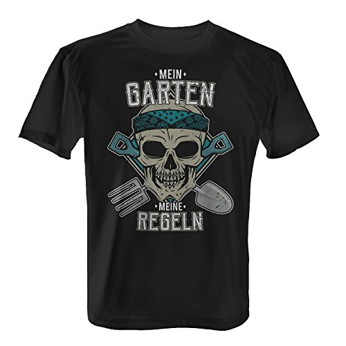 Fashionalarm Herren T-Shirt - Mein Garten - Meine Regeln | Fun Shirt mit Totenkopf Motiv & lustigem Spruch Hobby Gärtner Kleingarten Beruf Arbeit, Farbe:schwarz;Größe:L