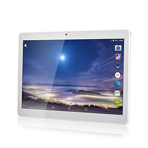 YIERA 10 inch Android 7.0 Tablet Unlocked Pad with Dual SIM Card Slot 10.1' IPS Screen 4GB RAM 64GB ROM 3G Phablet Built-in Bluetooth WiFi GPS Tablets (Metallic Silver)