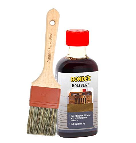 Bondex Holzbeize inkl. Beizpinsel, Wasserbeize in 20 Farbtönen zur Auswahl (250 ml, eiche mittel)